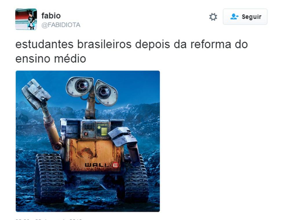 Reforma do ensino médio é alvo de memes no Twitter (Foto: Reprodução/Twitter)