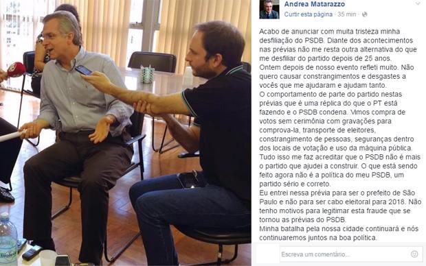 Andrea Matarazzo postou explicação sobre sua saída do PSDB (Foto: Reprodução/Facebook/Andrea Matarazzo)