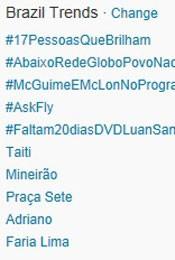 Trending Topics no Brasil às 17h25 (Foto: Reprodução/Twitter)