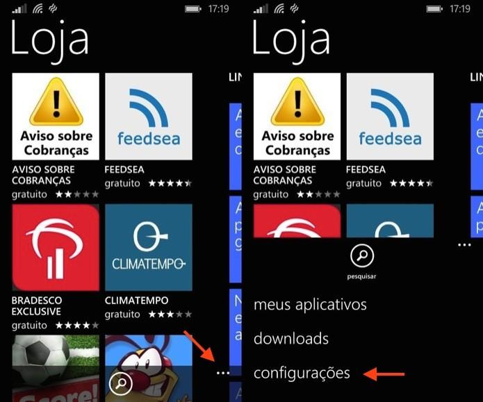 Abra a loja de aplicativos do Windows Phone (Foto: Reprodução/Helito Bijora)