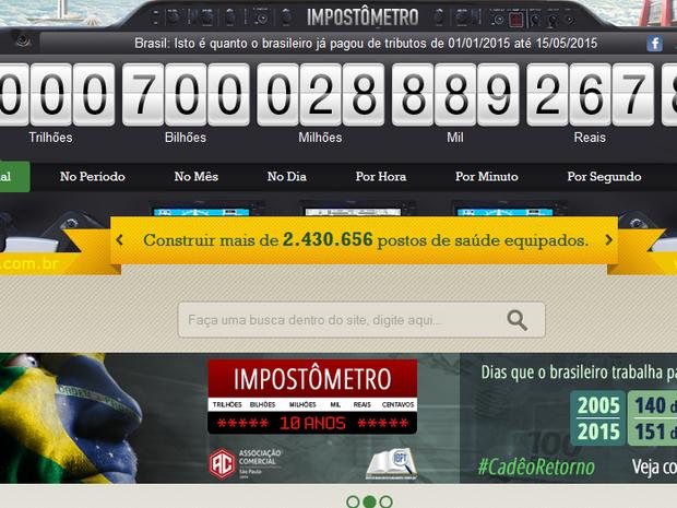 Impostômetro atinge R$ 700 bilhões este ano (Foto: Reprodução/Impostômetro)