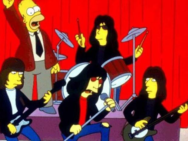 A banda Ramones durante sua participação em 'Os Simpsons' (Foto: Divulgação)
