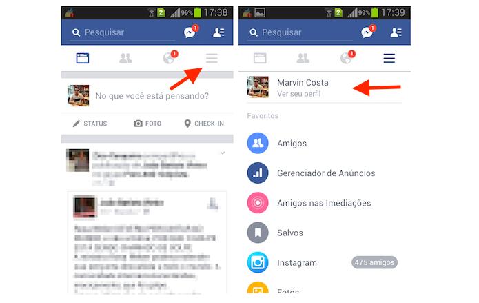 Acessando o perfil de usuário do Facebook pelo Android (Foto: Reprodução/Marvin Costa)