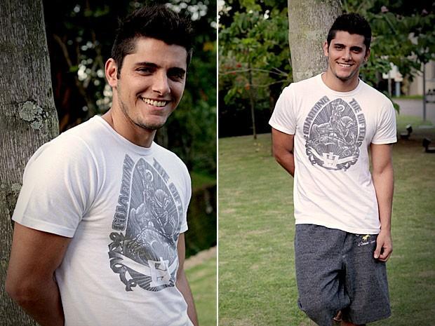 Bruno conta que é romântico e carinhoso com a namorada (Foto: Avenida Brasil / TV Globo)