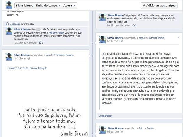 Silvia Ribeiro, irmã de Adriano Ballack, pede apoio na defesa do susposto causador da confusão (Foto: Reprodução/Facebook)
