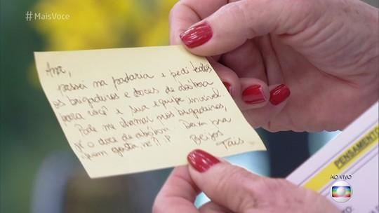 Ana Maria recebe doces de abóbora e bilhete fofo de Taís Araújo