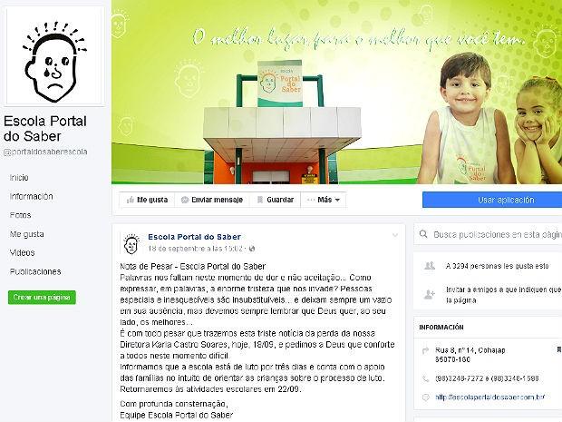 Nota de pesar pela morte da diretora Karla Castro Soares em rede social da Escola Portal do Saber (Foto: Facebook/Reprodução)