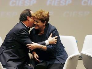 Presidente François Hollande durante encontro com Dilma Rousseff, em São Paulo (Foto: Reuters)