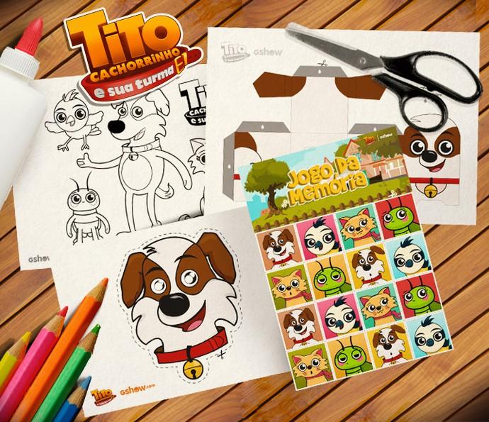 Imprima e divita-se com jogo da memória, máscara, paper toy e desenhos para colorir do Tito (Foto: Gshow)