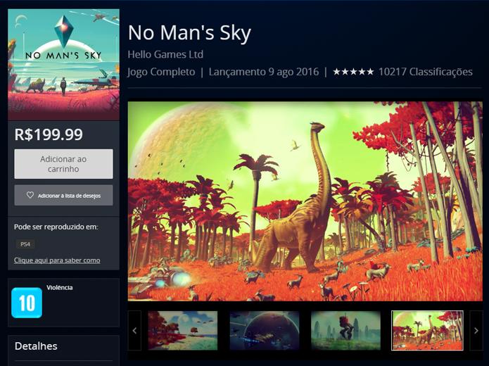 Página de No Mans Sky na versão de navegadores da PlayStation Store (Foto: Reprodução/André Mello)