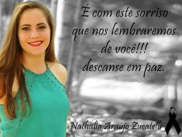 Amigos prestam homenagens a Nathália Araújo Zucatelli, morta após sair de cursinho em Goiânia, Goiás (Foto: Reprodução/ Facebook)