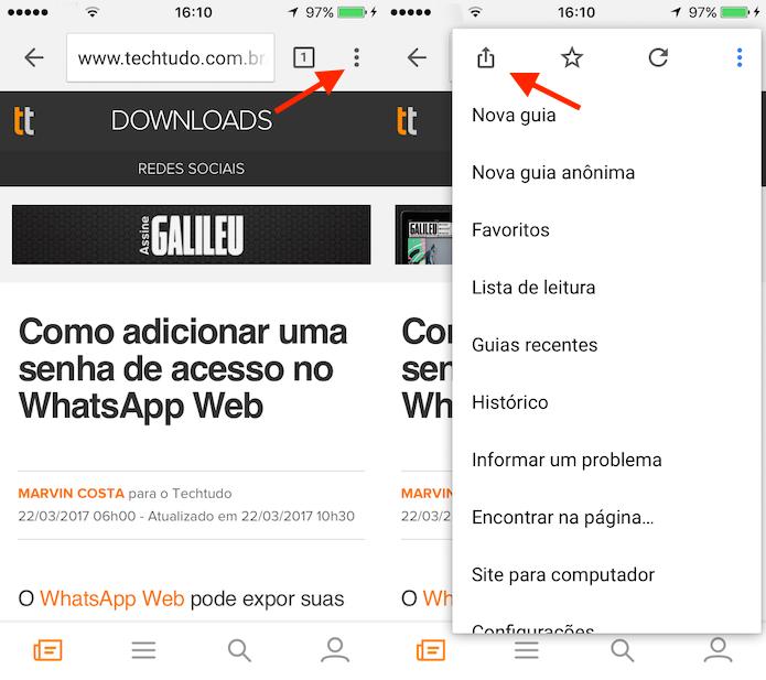Caminho para acessar as opções de compartilhamento do Google Chrome para iPhone (Foto: Reprodução/Marvin Costa)