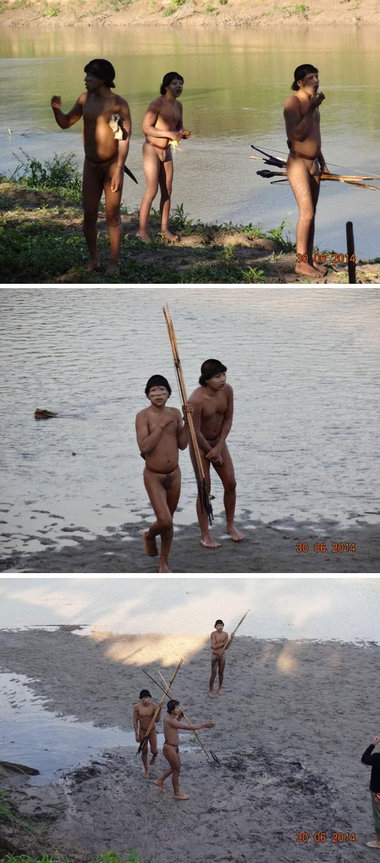 Imagens dos índios isolados divulgadas pela Funai (Foto: Divulgação/Funai)