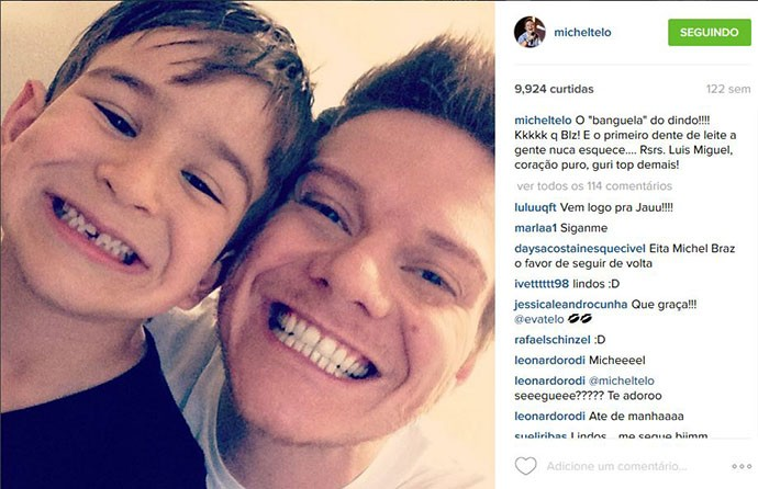 Postagem do tio Michel Teló para o sobrinho mais velho, Luís Miguel (Foto: Arquivo Pessoal)