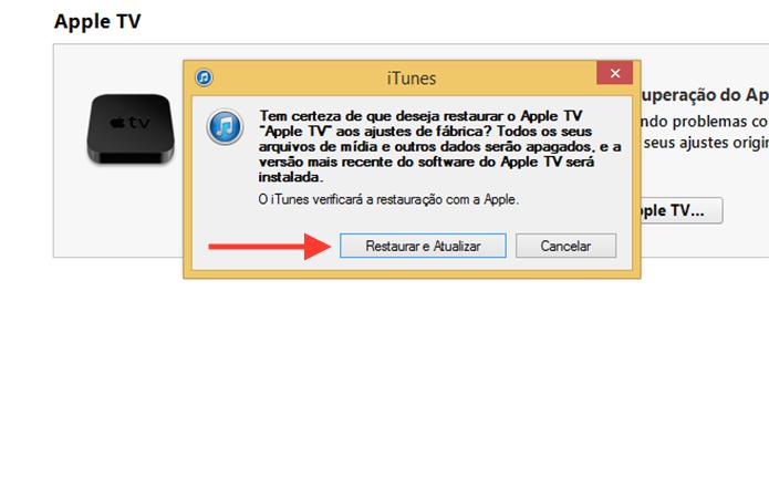 Confirmando a restauração e instalação do software atualizado da Apple TV (Foto: Reprodução/Marvin Costa)