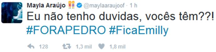 Twitter oficial de Mayla defende a saída de Pedro no Paredão contra a irmã Emilly (Foto: Arquivo Pessoal)