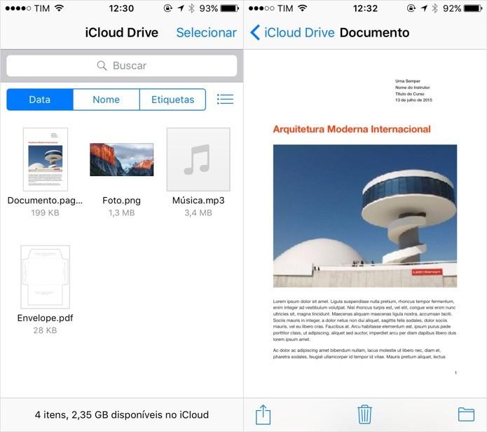 Aplicativo do iCloud Drive (Foto: Reprodução/Helito Bijora)