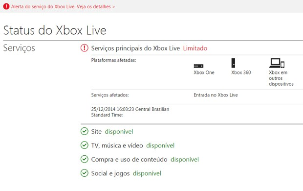 Mensagem no site Xbox.com avisava que oferta de serviços da Xbox Live era limitada (Foto: Reprodução/Xbox.com)
