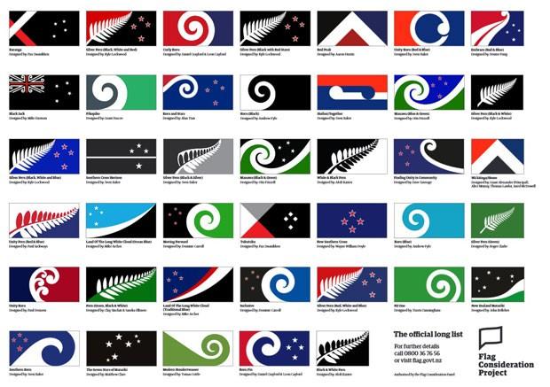 Os modelos finalistas para concurso que vai eleger a nova bandeira da Nova Zelândia (Foto: Reprodução/NZ Government)