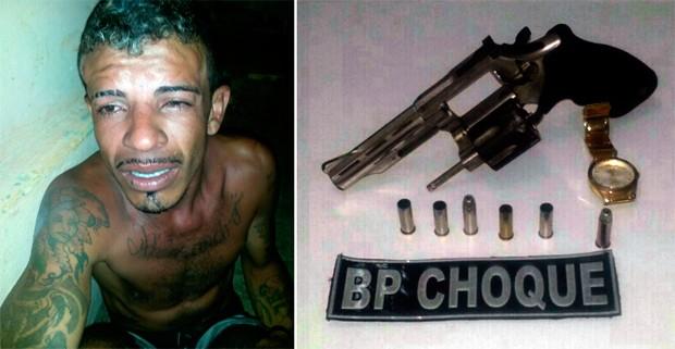Alex do Nascimento Firmino, de 26 anos, foi baelado na perna, socorrido e depois preso (Foto: Divulgação/Polícia Militar do RN)