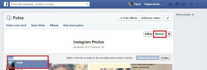 Marque uma pessoa em várias fotos de uma vez no Facebook (Foto: Reprodução/Taysa Coelho)