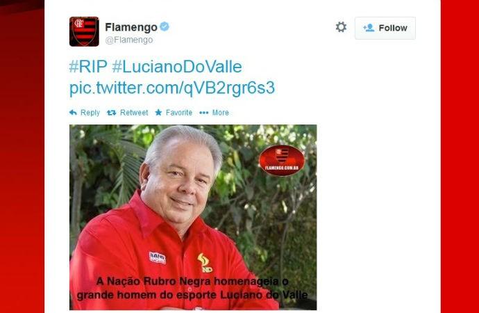 Flamengo lamenta morte do narrador Luciano do Valle (Foto: reprodução)