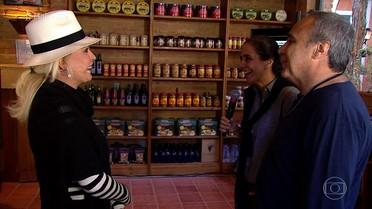 Ana Maria conhece padaria que é cenário de 'Sol Nascente'