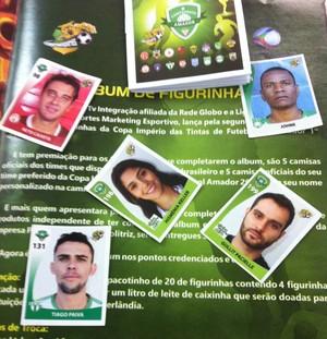Álbum, futebol amador, Uberlândia, figurinhas (Foto: Reprodução/TV Integração)
