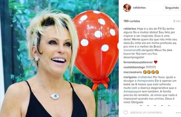 Rafa Brites homenageou Ana Maria Braga no Dia do Fã (Foto: Reprodução/Instagram)