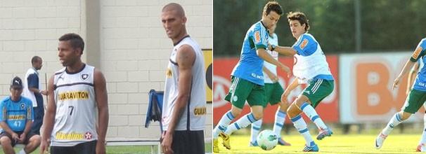 Técnicos treinam jogadores reservas para a partida de quarta (Foto: Thales Soares / Marcos Ribolli / Globoesporte.com)