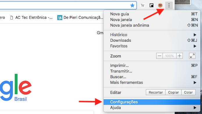 Acesse as configurações do Google Chrome (Foto: Reprodução/Marvin Costa)