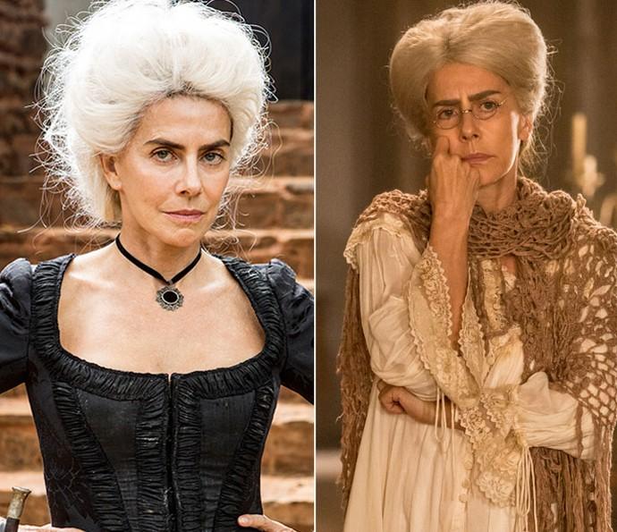 Dionísia em 'Liberdade, Liberdade', e no spin-off 'A Lenda do Mão de Luva', já idosa (Foto: Felipe Monteiro / Gshow)