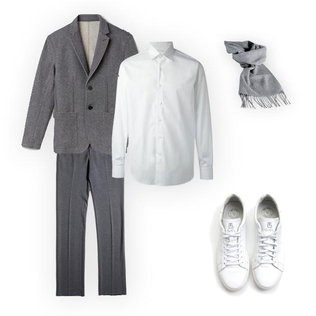 Blazer Lacoste (R$ 1.690), calça Calvin Klein (R$ 490), camisa Salvatore Ferragamo (R$ 1.340 na Farfetch), echarpe basico.com (R$ 238), tênis Foxton (R$ 319) (Foto: Divulgação)