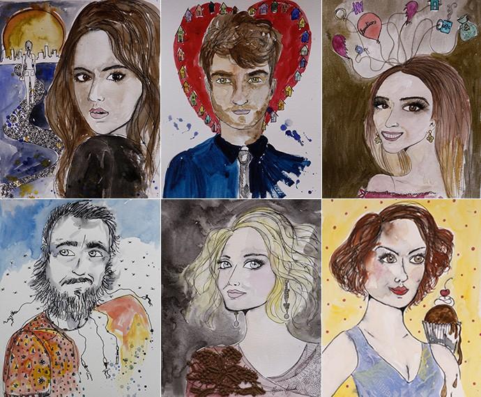 Desenhos assinados por Maurren são feitos em aquarela. Acima: Mari, Benjamin e Danda. Abaixo: Juju, Soraya e Paulucha. (Foto: Inácio Moraes/Gshow)