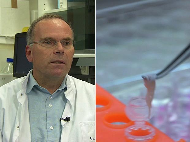 Mark Post, chefe da pesquisa; e ao lado tiras de músculo produzidas (Foto: BBC)