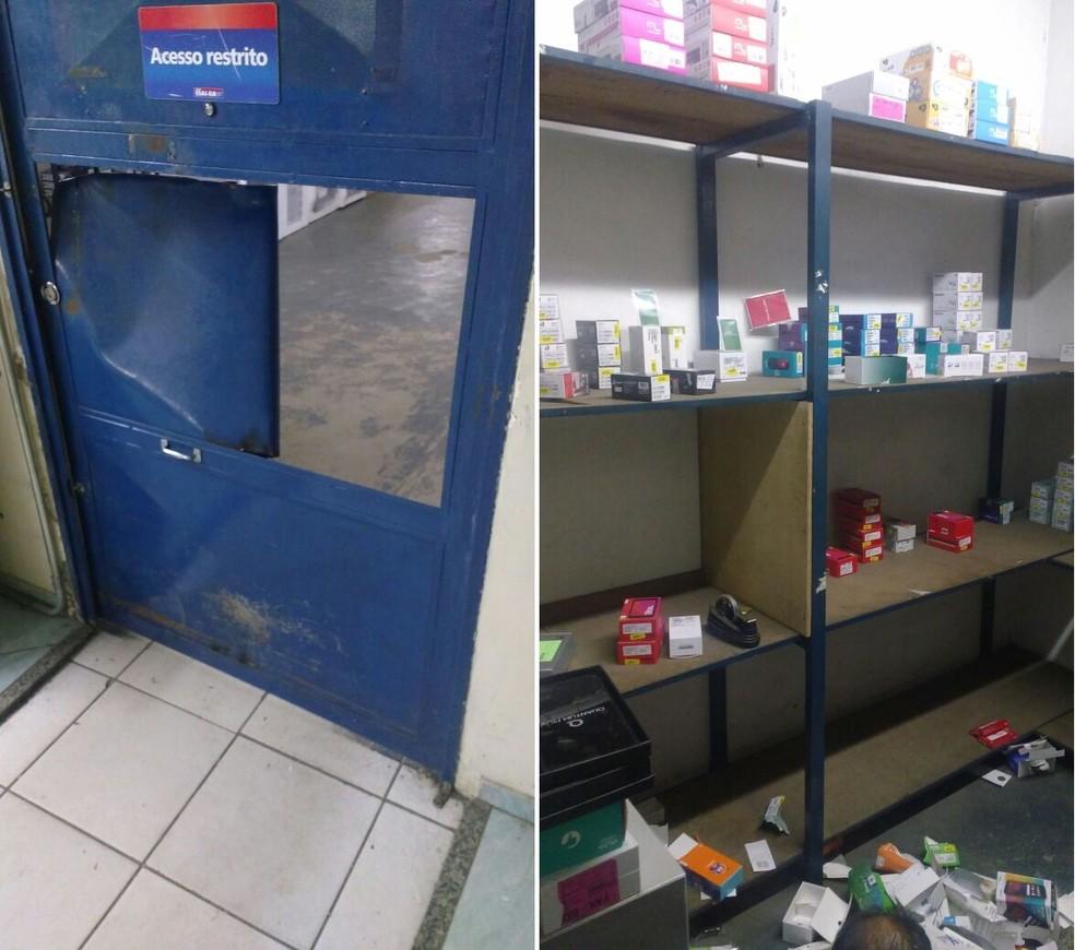 Outros acessos também foram arrombados pelo grupo, que foi detido pela PM (Foto: Divulgação/Polícia Militar)