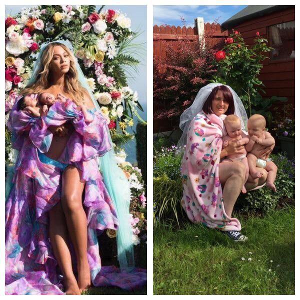 Mãe com os gêmeos em jardim (Foto: Reprodução Facebook)