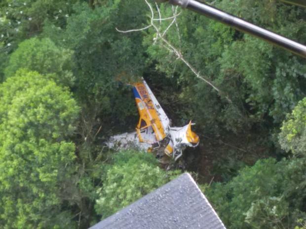 Aeronave caiu no região Norte de Santa Catarina (Foto: 2ª Companhia de Aviação da Polícia Militar/Divulgação)