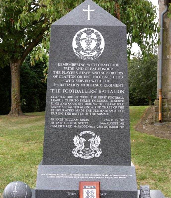 memorial a jogadores britanicos da primeira guerra (Foto: Reprodução / 1914,org)