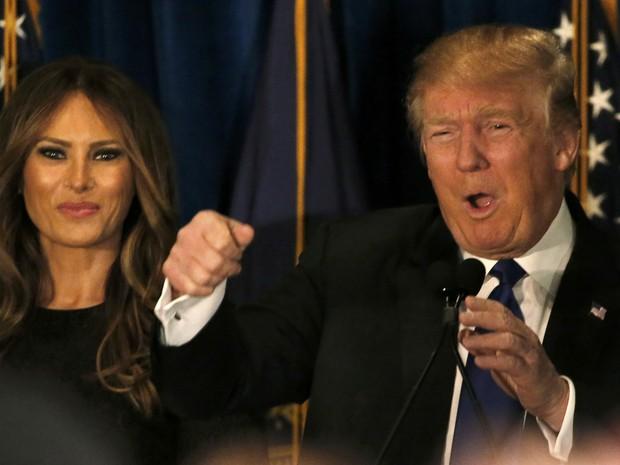Donald Trump faz pronunciamento de vitória em New Hampshire (Foto: Jim Bourg/Reuters)