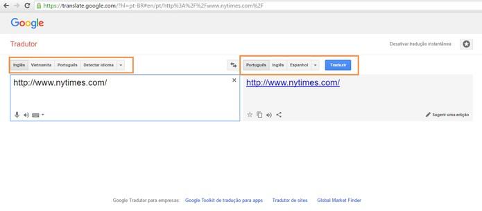 Usuário pode usar o Google Tradutor para mudar o idioma de sites (Foto: Reprodução/Barbara Mannara)