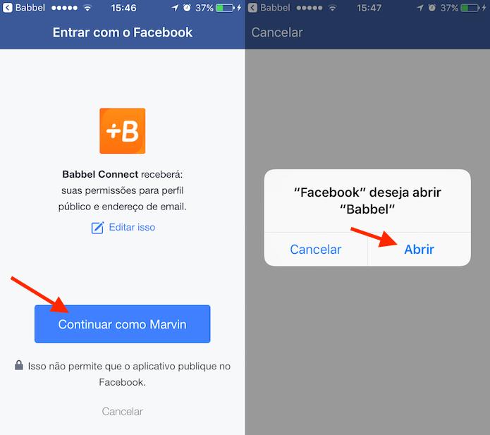 Opção para iniciar o aplicativo Babbel por login do Facebook (Foto: Reprodução/Marvin Costa)
