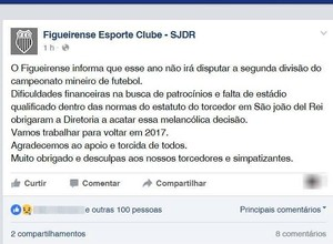 Nota do Figueirense-MG informa decisão de não jogar na Segundona (Foto: Facebook/Reprodução)