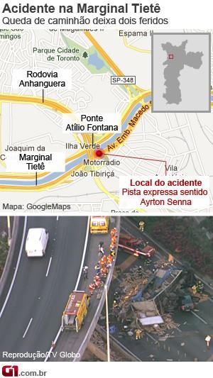 Acidente na Marginal Tietê (Foto: Arte/G1)