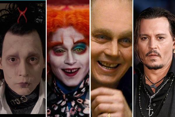 Johnny Depp em 'Edward Mãos de Tesoura', 'Alice no País das Maravilhas' e 'Aliança do Crime' (Foto: Reprodução//Getty Images)