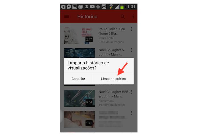 Confirmando a exclusão do histórico de vídeos assistidos no YouTube através de um dispositivo Android (Foto: Reprodução/Marvin Costa)