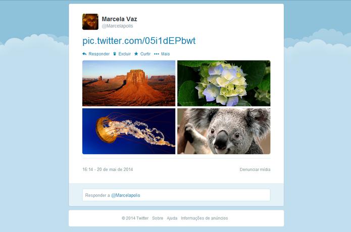Twitter passa a permitir compartilhamento de até quatro fotos em um único tuíte (Foto: Reprodução/ Marcela Vaz)
