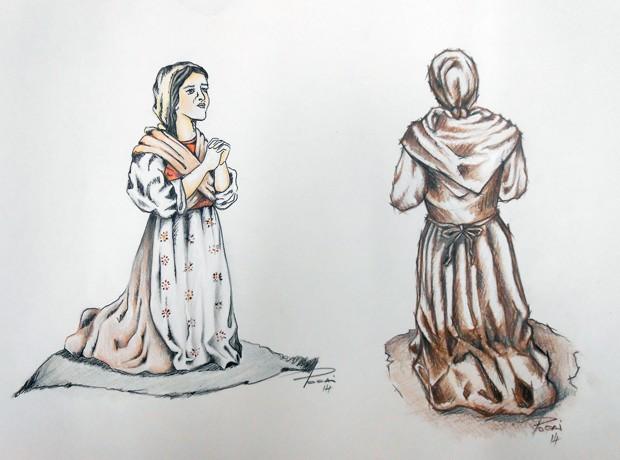 Imagem da camponesa Joaneta, ajoelhada diante da santa, também será refeita (Foto: Gilmar Pocai/arquivo pessoal)