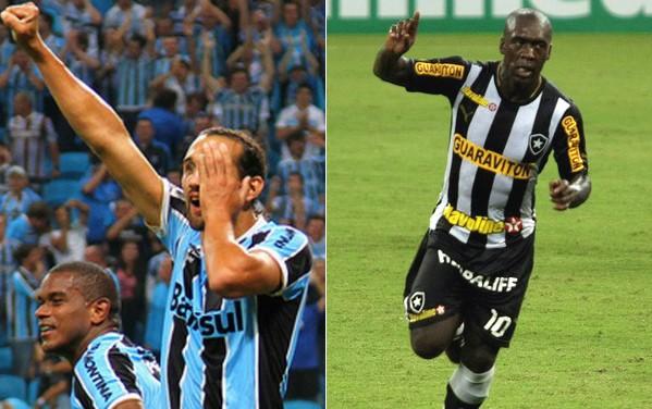 Grêmio está em nono na classificação, enquanto o Botafogo é líder (Foto: Lucas Uebel/Divulgação/Hans Von Manteufell/Agência Globo/Reprodução globoesporte.com)