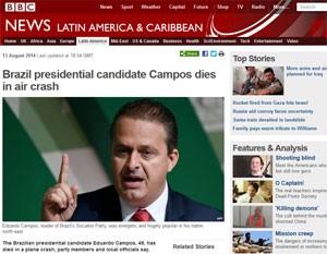 Site da BBC noticia morte de Campos. (Foto: Reprodução)